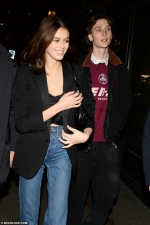 Kaia Gerber looks giddy on night out with rumoured boyfriend Wellington