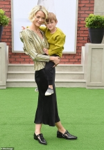 Jaime King dazzles in gold blouse and black skirt with son Leo, 3, at Secret Life