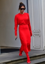 Star makes a VERY bold style statement in an all-red ensemble