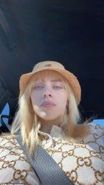 Billie Eilish proudly models a Gucci bucket hat and oversized polo shirt on Instagram as she continues