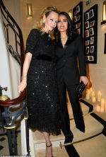 Uma Thurman dazzles in a sequinned black midi-dress as she joins Salma Hayek