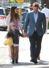 Chris Pratt holds hands with his son Jack, six, as they are joined by his fiancee Katherine Schwarzenegger