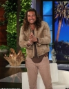 Jason Momoa shows Ellen how to throw an ax before explaining
