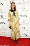 Katie Holmes is pretty in yellow floral frock with black collar at American