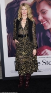 Laura Dern exudes glamour in black and gold sheer dress as she is joined