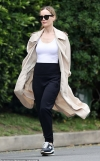 Leslie Mann takes break from home isolation for a walk in LA