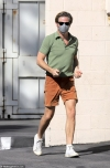 Chris Pine keeps it casual in polo short and shorts as he heads to the studio