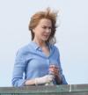 Fresh-faced Nicole Kidman battles the breeze as she continues filming TV project Big Little Lies