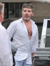 Simon Cowell's heavily exposed chest puts a smile on girlfriend