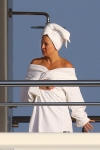 Make-up free Kate Hudson is radiant as she dries off aboard Roman Abramovich's $1.5bn super-yacht