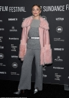 Jaime King rocks chic grey co-ords and a bubblegum pink