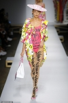 Stella Maxwell storms the runway in 80s-inspired graphic-print ensembles