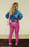 New mum Beyonce flaunts her famous posterior in eye-wateringly tight pink