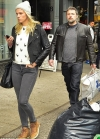 Ben Affleck sports salt and pepper stubble and cool leather jacket while out with girlfriend