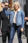 Gwen Stefani rocks double denim ensemble with leopard booties