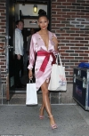 Thandie Newton exudes glamour in a perilously plunging wrap dress