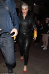 Katy Perry nails rocker chic in leather trousers with a matching biker jacket