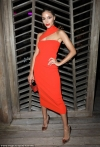 Olivia Culpo sizzles as she shows off gym-honed shape in red