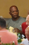 Samuel L. Jackson and Magic Johnson enjoy dinner as they vacation