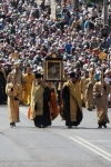 Orthodox pilgrims marching through downtown towards Kyiv Pecherska Lavra