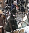 Poldark's Eleanor Tomlinson transforms into Demelza in forest green gown as she joins Aidan Turner