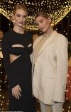 Rosie Huntington-Whiteley wears sexy black cut-out dress with bra detail alongside Hailey Baldwin