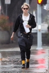 Kristen Stewart visits a hair salon in the LA rain as she steps out without